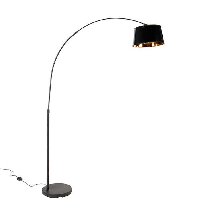 Moderne-booglamp-zwart-met-goud---Arc-Basic