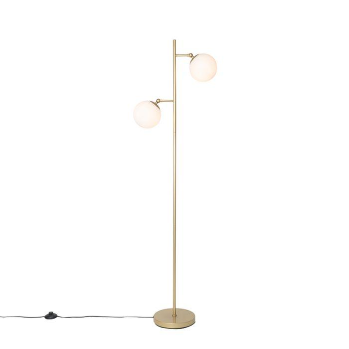 Art-Deco-vloerlamp-goud-met-mat-glas-2-lichts---Pallon