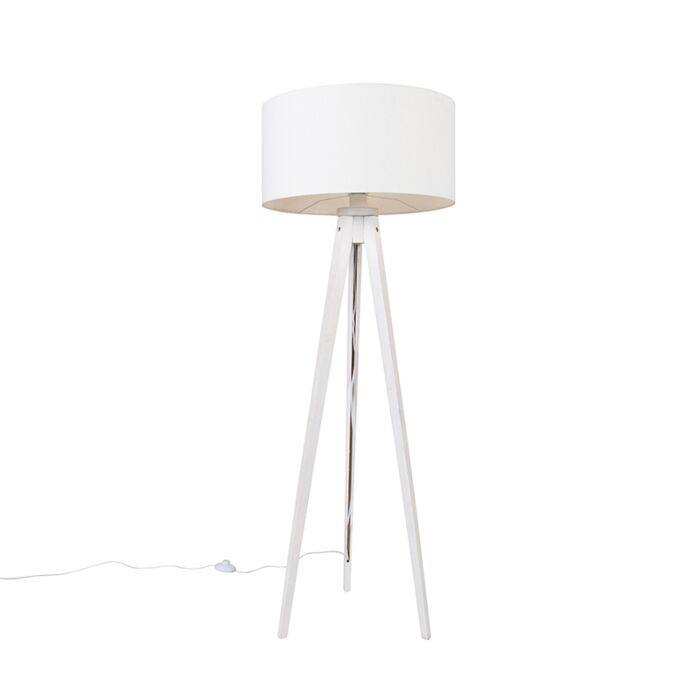 Moderne-vloerlamp-tripod-wit-met-kap-wit-50-cm---Tripod-Classic
