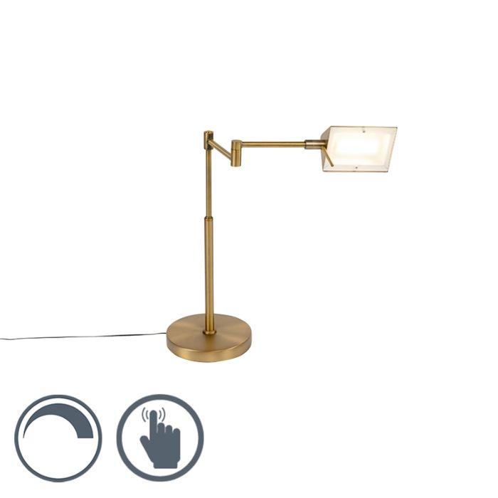 Design-tafellamp-brons-incl.-LED-met-touch-dimmer---Notia