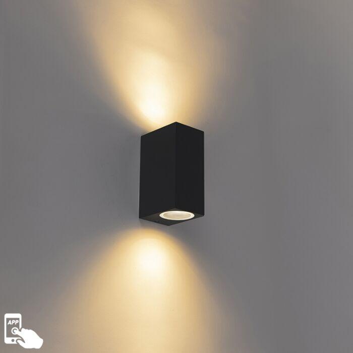 Smart-moderne-wandlamp-zwart-IP44-incl.-2-Wifi-GU10---Baleno-II