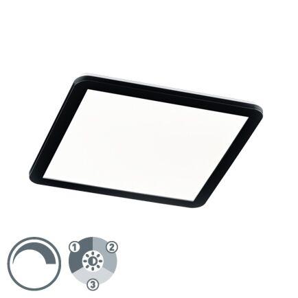 Plafonnière-vierkant-zwart-40-cm-incl.-LED-3-staps-dimbaar-IP44---Lope