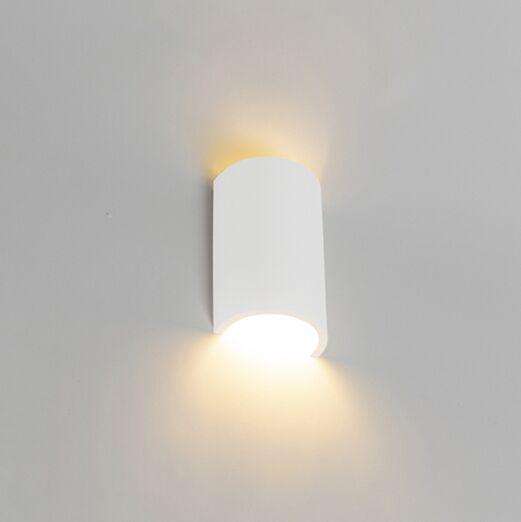 Landelijke-ronde-wandlamp-gips---Colja-Novo