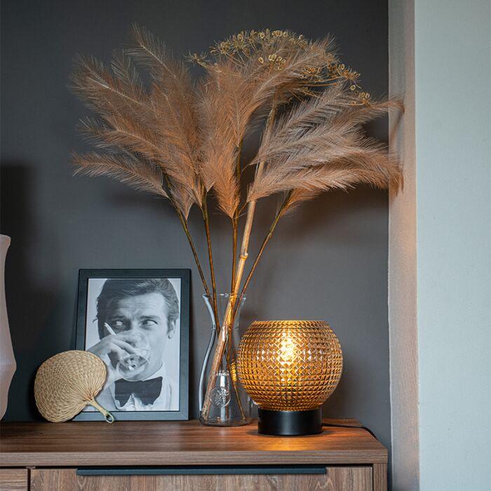 Art-Deco-tafellamp-zwart-met-smoke-glas---Sphere