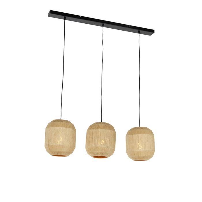 Oosterse-hanglamp-zwart-met-touw-3-lichts---Riki