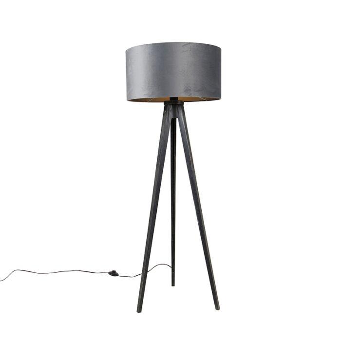 Vloerlamp-tripod-zwart-met-kap-grijs-50-cm---Tripod-Classic