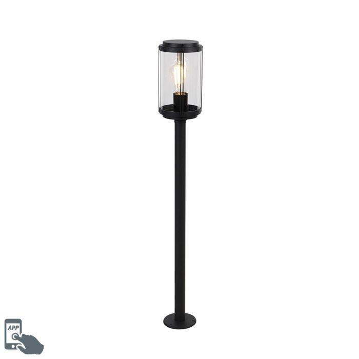 Smart-design-staande-buitenlamp-zwart-100-cm-IP44-incl.-Wifi-ST64---Schiedam