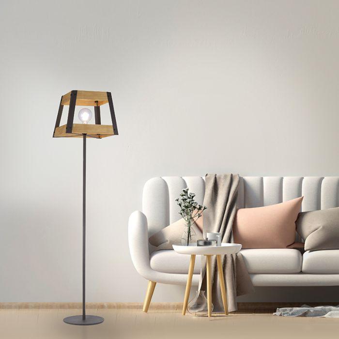 Industriële-vloerlamp-zwart-met-hout---Krati