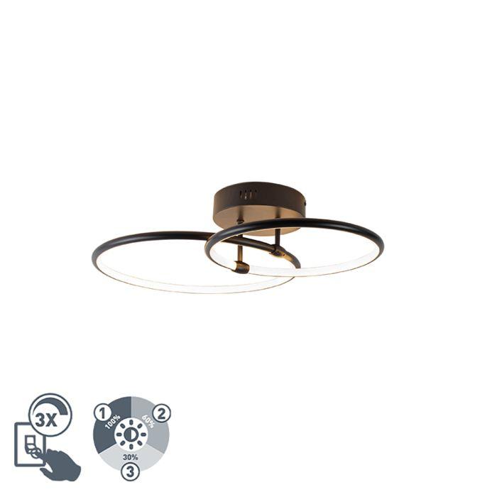 Plafondlamp-zwart-incl.-LED-3-staps-dimbaar-2-lichts---Joaniqa