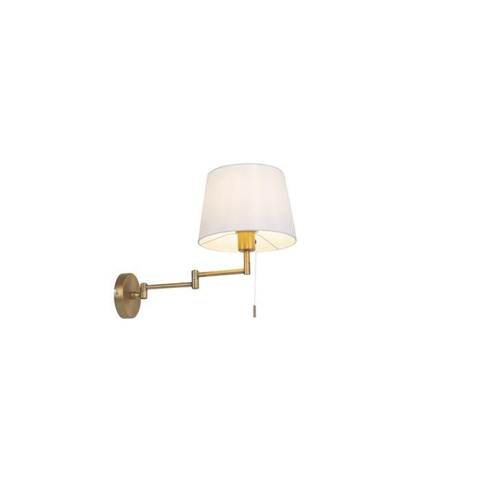 Wandlamp-brons-met-witte-kap-en-verstelbare-arm---Ladas-Deluxe