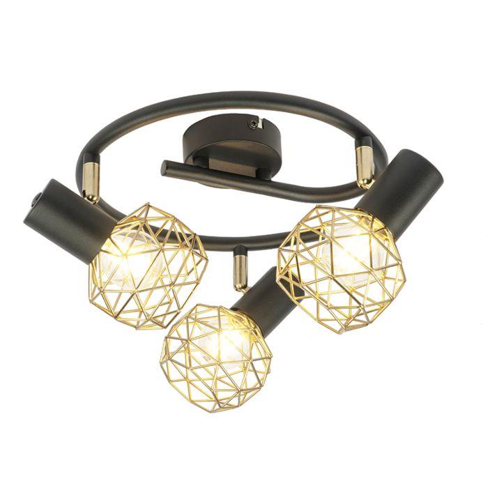 Design-spot-zwart-met-goud-3-lichts-verstelbaar---Mesh