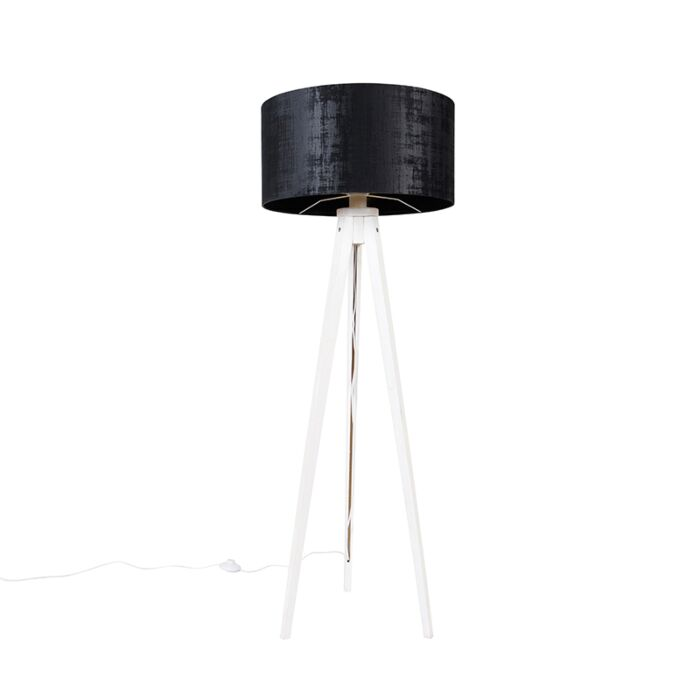 Moderne-vloerlamp-tripod-wit-met-kap-zwart-velours-50-cm---Tripod-Classic