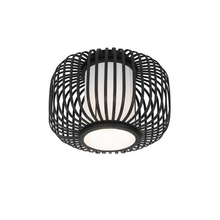 Moderne-plafondlamp-zwart-met-bamboe---Bambuk