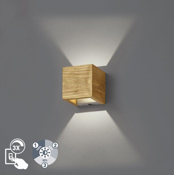 Landelijke-wandlamp-hout-11-cm-incl.-LED-dimbaar---Linc