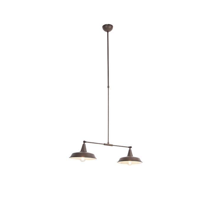 Industriële-hanglamp-bruin-2-lichts-verstelbaar---Vici