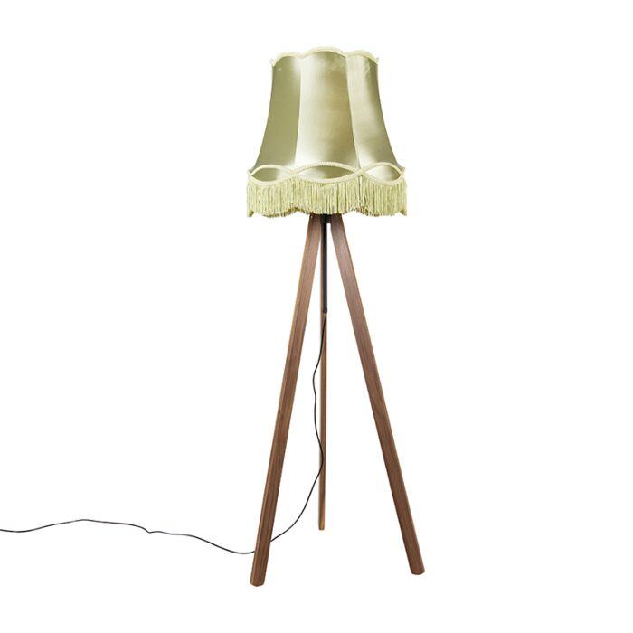 Klassieke-vloerlamp-tripod-bruin-met-granny-kap-groen---Telu