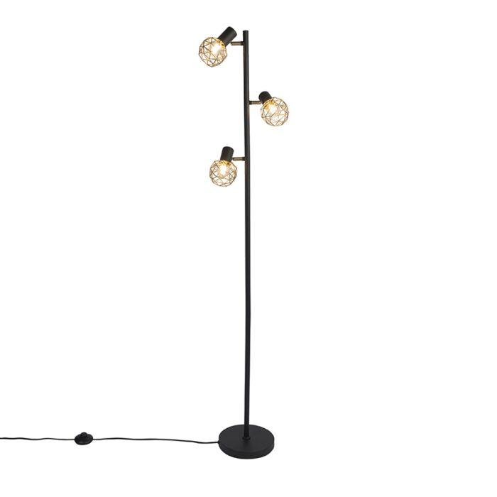 Design-vloerlamp-zwart-met-goud-3-lichts-verstelbaar---Mesh