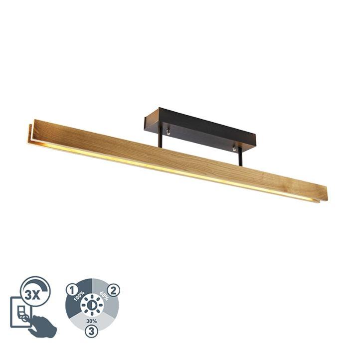 Landelijke-plafondlamp-eik-98-cm-incl.-LED-3-staps-dimbaar---Holz