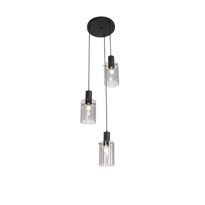 Moderne-hanglamp-zwart-met-smoke-glas-3-lichts---Vidra