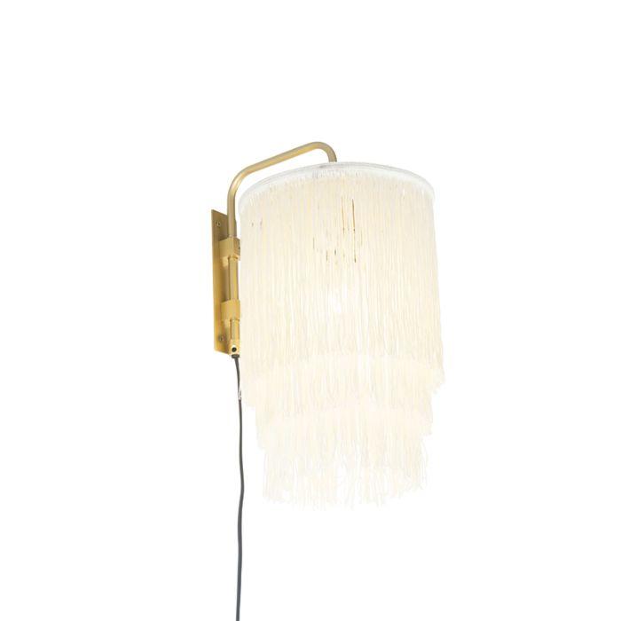 Oosterse-wandlamp-goud-crème-kap-met-franjes---Franxa