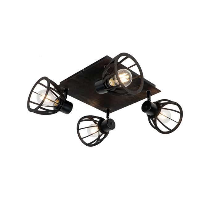 Industriële-plafondlamp-zwart-4-lichts---Fotu