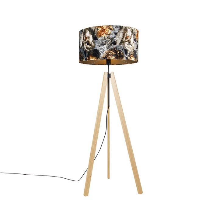 Landelijke-vloerlamp-tripod-hout-met-kap-bloemen-50-cm---Telu