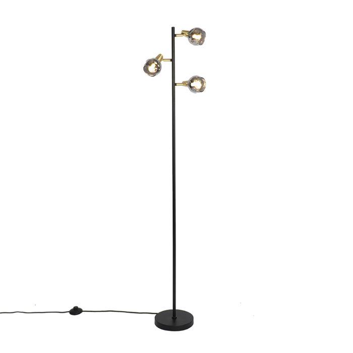 Art-deco-vloerlamp-zwart-en-goud-met-smoke-glas-3-lichts---Vidro