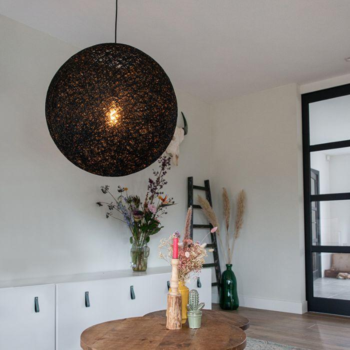 Landelijke-hanglamp-zwart-60-cm---Corda