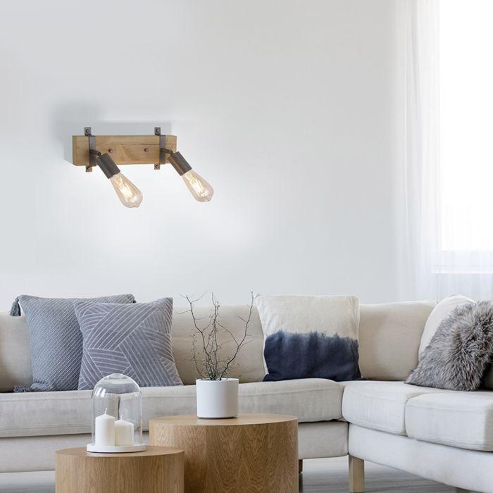 Industriële-spot-grijs-met-hout-verstelbaar-2-lichts---Maris