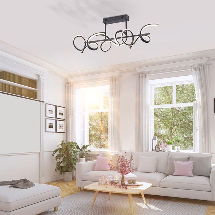 Design-plafondlamp-zwart-incl.-LED-en-dimmer---Krisscross