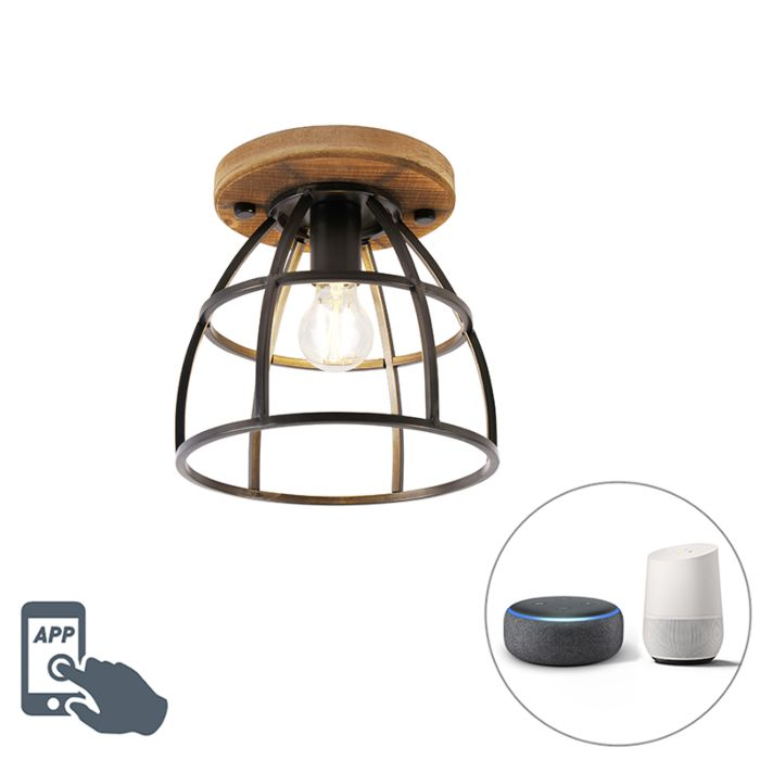 Smart-plafondlamp-zwart-met-hout-incl.-WiFi-E27---Arthur