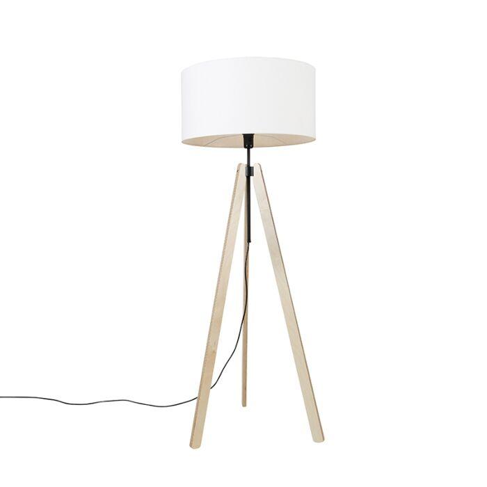 Moderne-vloerlamp-hout-linnen-kap-wit-50-cm-tripod---Telu
