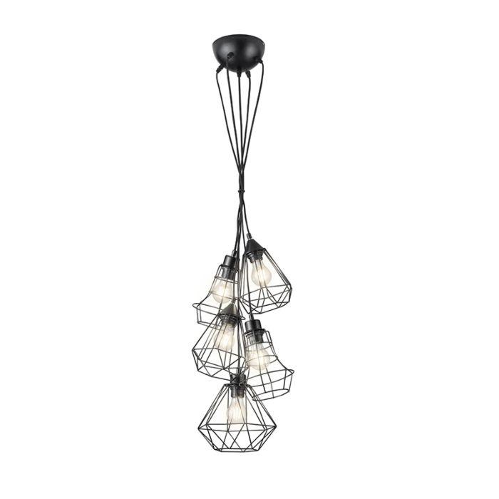 Moderne-hanglamp-zwart-5-lichts---Mieke
