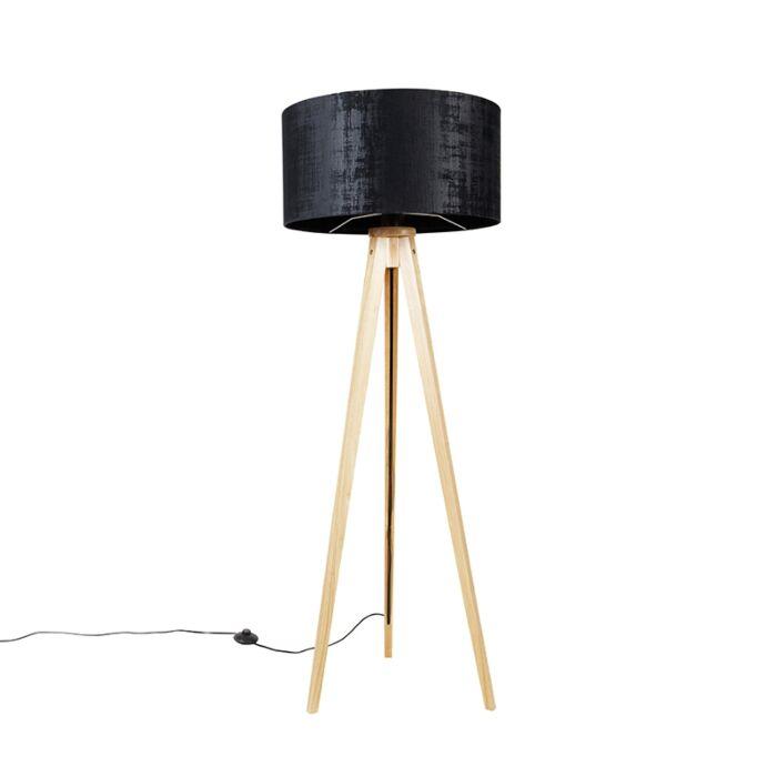 Vloerlamp-hout-met-stoffen-kap-zwart-50-cm---Tripod-Classic