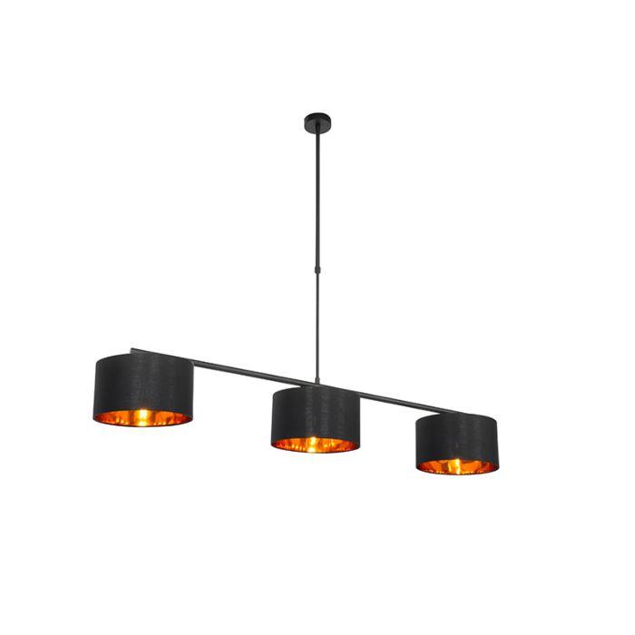 Moderne-hanglamp-zwart-met-goud-3-lichts---VT-3