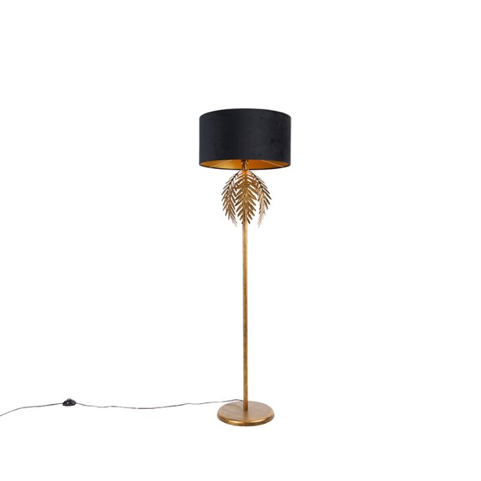 Vintage-vloerlamp-goud-met-zwarte-velours-kap-50-cm---Botanica