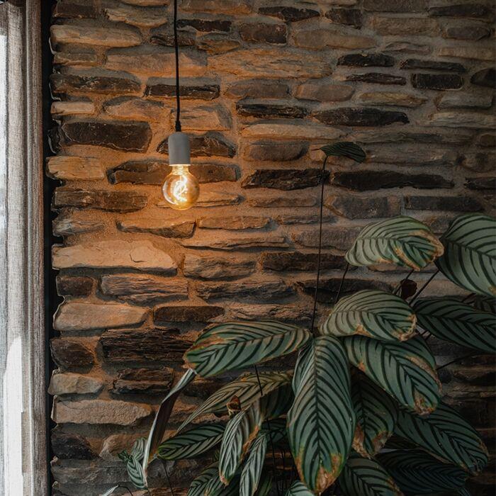 Hanglamp-zwart-met-beton---Pedra