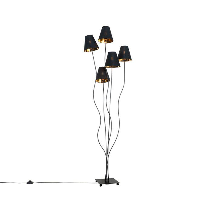 Design-vloerlamp-zwart-met-goud-5-lichts---Melis