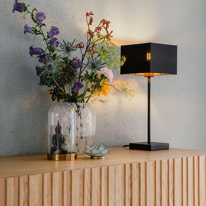 Moderne-tafellamp-zwart-stoffen-kap-zwart-met-goud---VT-1