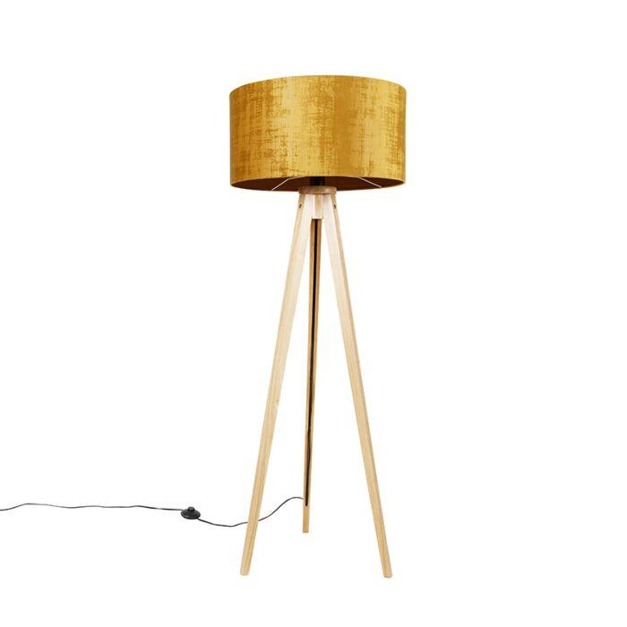 Vloerlamp-tripod-naturel-met-kap-goud-50-cm---Tripod-Classic