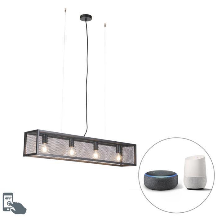 Smart-industriële-hanglamp-zwart-incl.-4-WiFi-A60---Cage