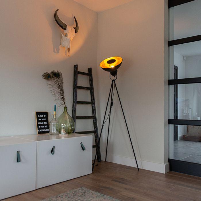 Vloerlamp-zwart-met-goud-154,4-cm-tripod---Magnax-Eco