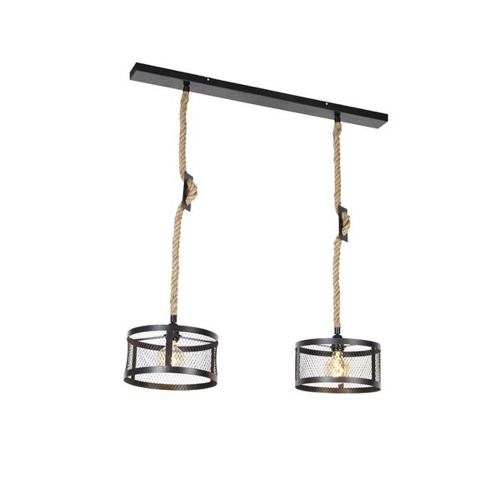 Industriële-hanglamp-zwart-met-touw-2-lichts---Cage-Robusto