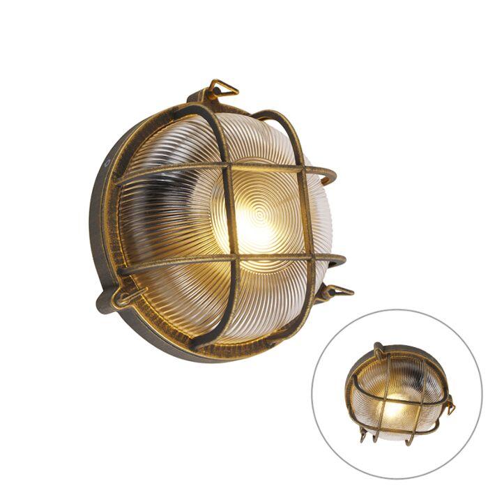 Wand--en-plafondlamp-goud/messing-rond-IP44---Noutica