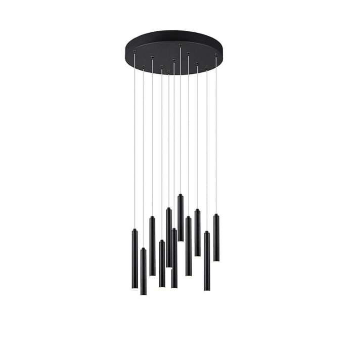Hanglamp-zwart-rond-incl.-LED-3-staps-dimbaar-11-lichts---Tubas