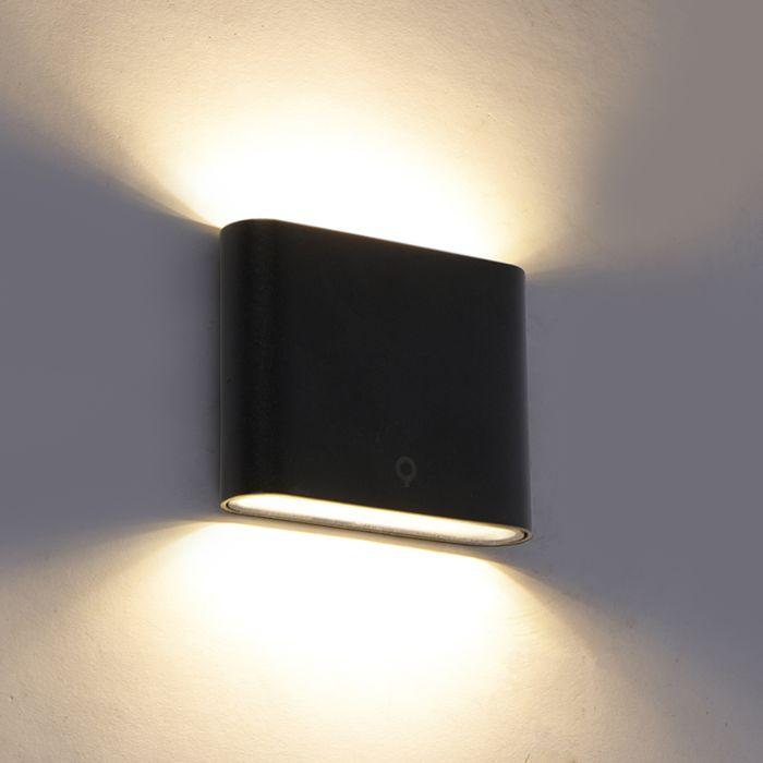 Moderne-buitenwandlamp-zwart-11,5-cm-incl.-LED-IP65---Batt