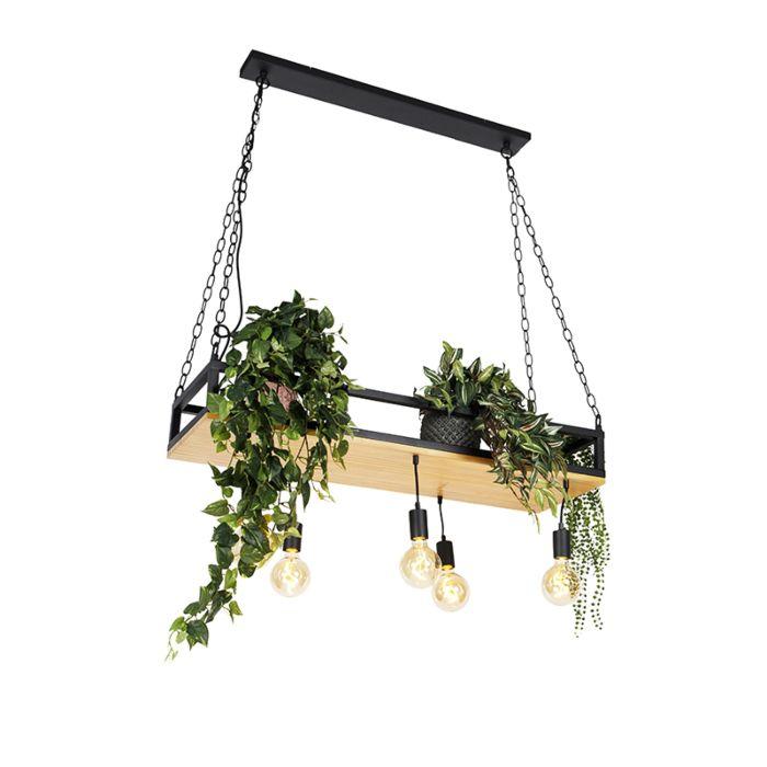 Industriële-hanglamp-zwart-met-hout-5-lichts---Shelf