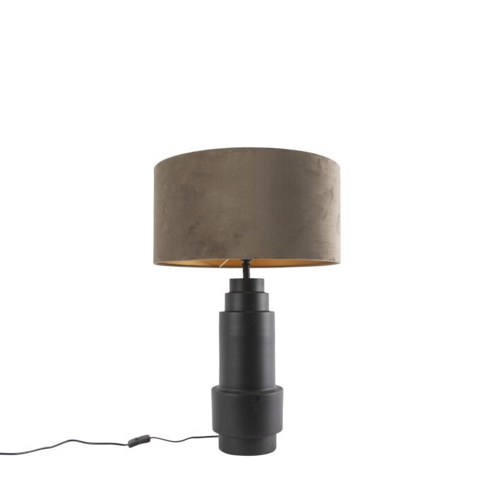 Art-deco-tafellamp-zwart-met-velours-taupe-kap-50-cm---Bruut