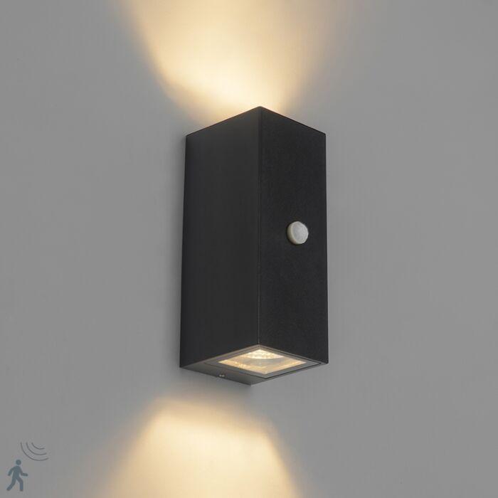 Moderne-wandlamp-zwart-IP44-met-bewegingssensor---Baleno-II