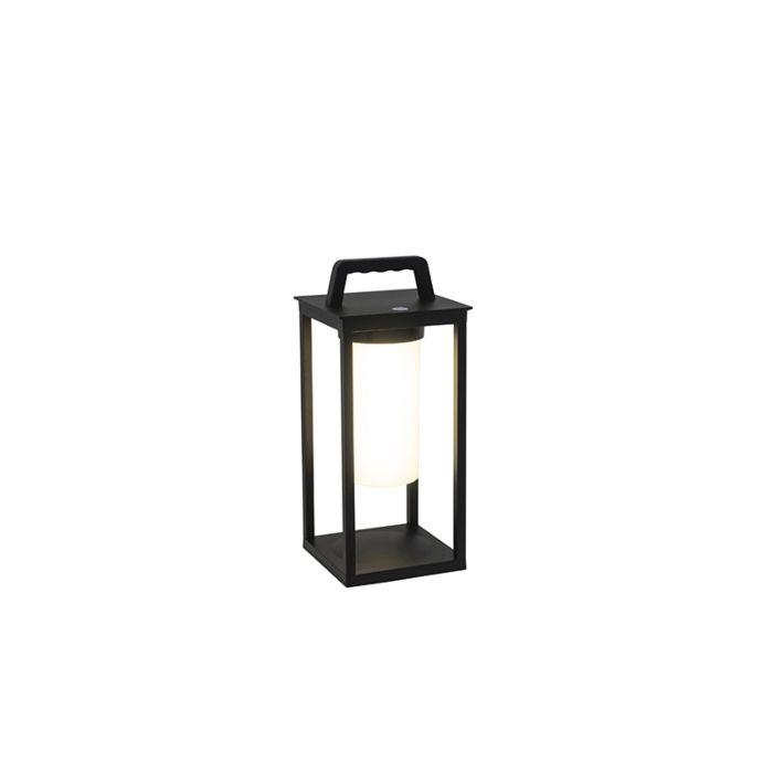 Moderne-buitenlamp-zwart-incl.-LED-oplaadbaar-IP44---Denlu